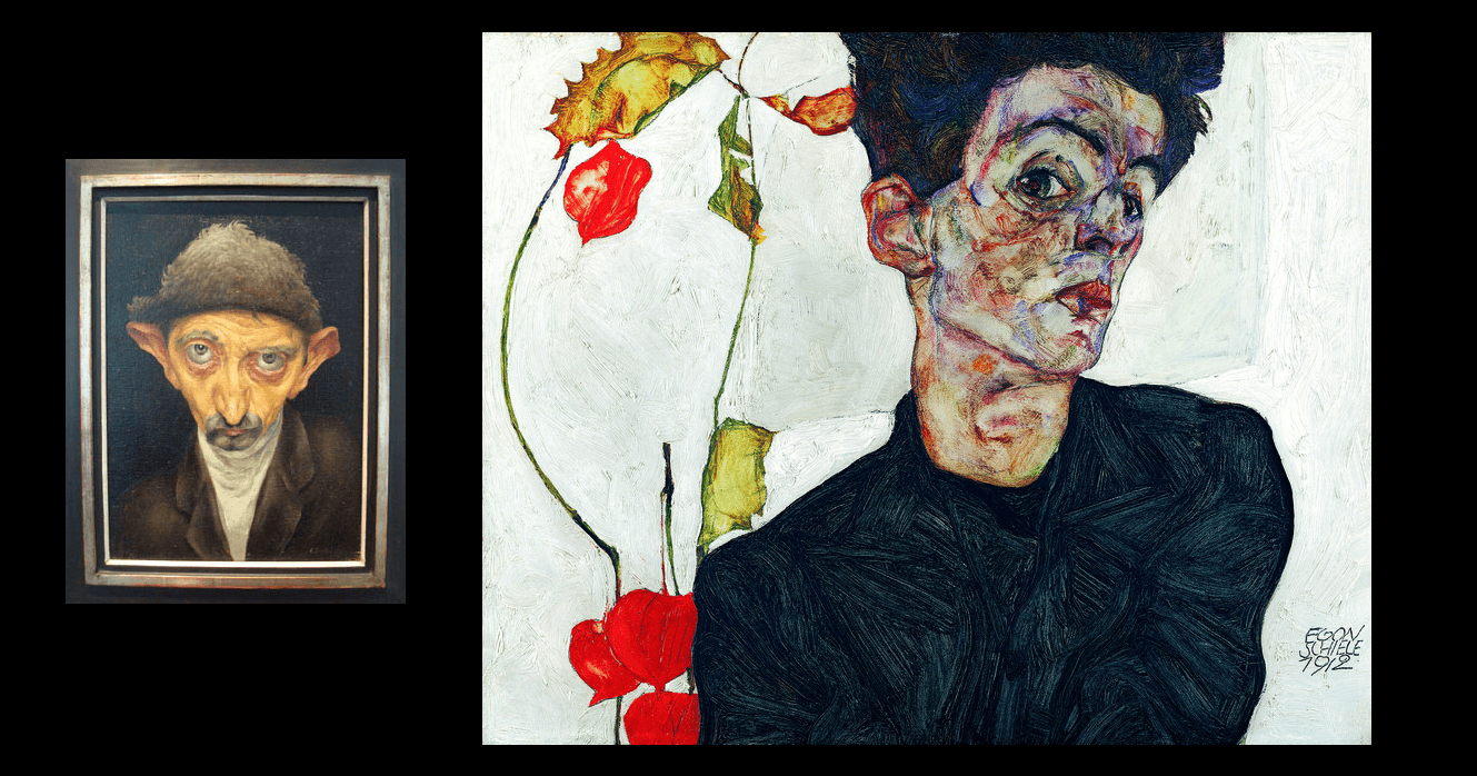 Albert Birkle Man with Fu Cap - Egon Schiele Self-Portrait with Chinese Lantern Plant