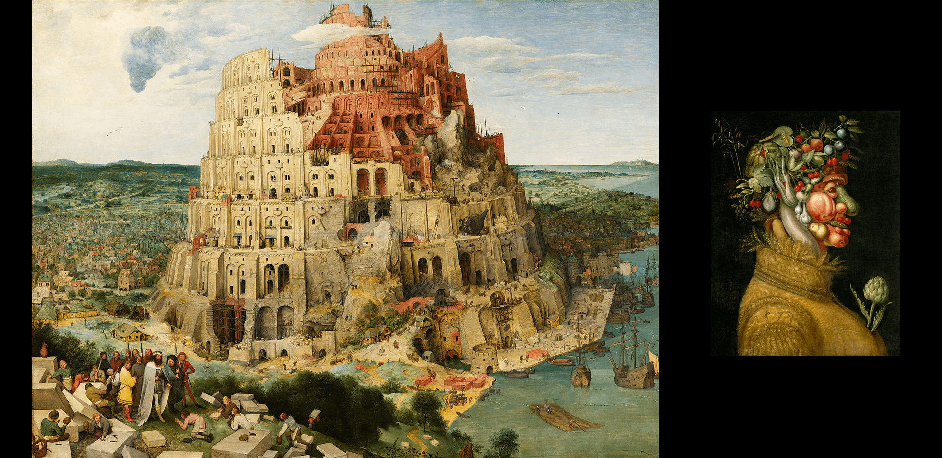 Pieter Bruegel - The Tower of Babel and Giuseppe Arcimboldo - Summer