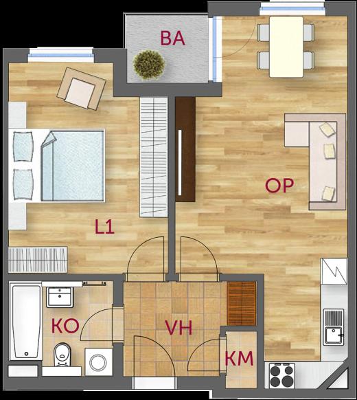 2+kk apartment (Taken from cakovickypark.cz)