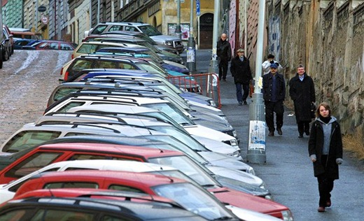 Parked cars in Brno city center