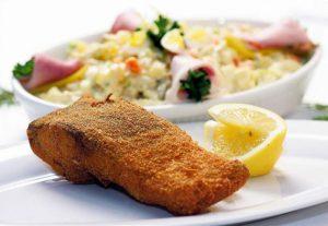 Fried carp and potato salad