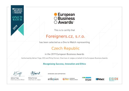 Foreigners Agency Win Two Prizes European Business Awards