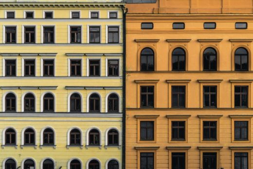 Prague buildings with different colors