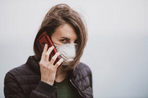 Woman wearing a respirator
