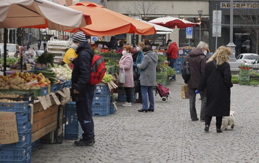Farmer's market on Zelny square in the Center of Brno