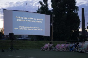 Enjoy an open-air movie session during a refreshing evening in Brno.